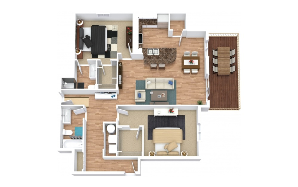 The Raven I - 2 bedroom floorplan layout with 2 baths and 1062 square feet.