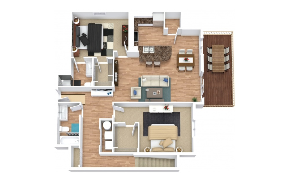 The Raven II - 2 bedroom floorplan layout with 2 baths and 1105 square feet.