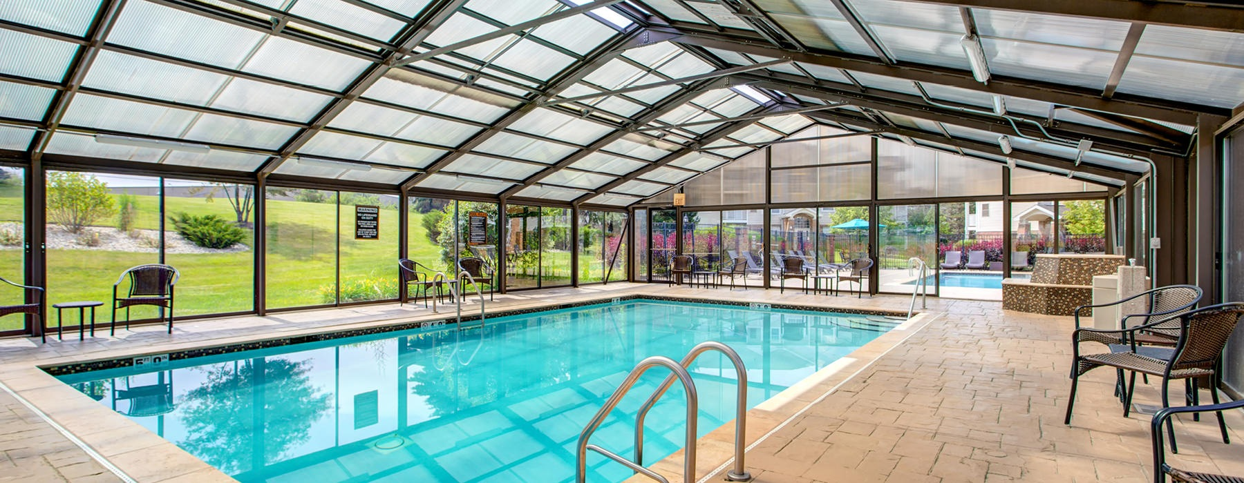 Indoor pool with translucent atrium.